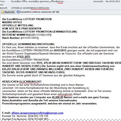 Offizielle E Mail Englisch Spam Euromillions Gewinnbenachrichtigung 187 Bits Meet Bytes