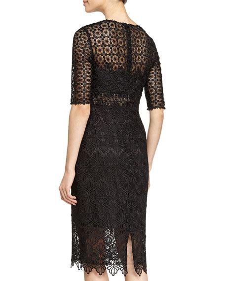 3 4 Sleeve Lace Sheath Dress ml lhuillier 3 4 sleeve lace sheath dress