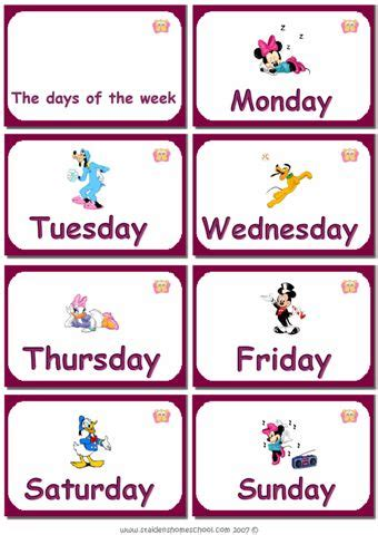 printable toddler learning flash cards printable days of the week flashcards for learning