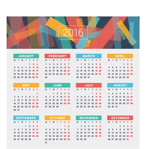 design of calendar 2016 2016 company calendar creative design vector 15 vector