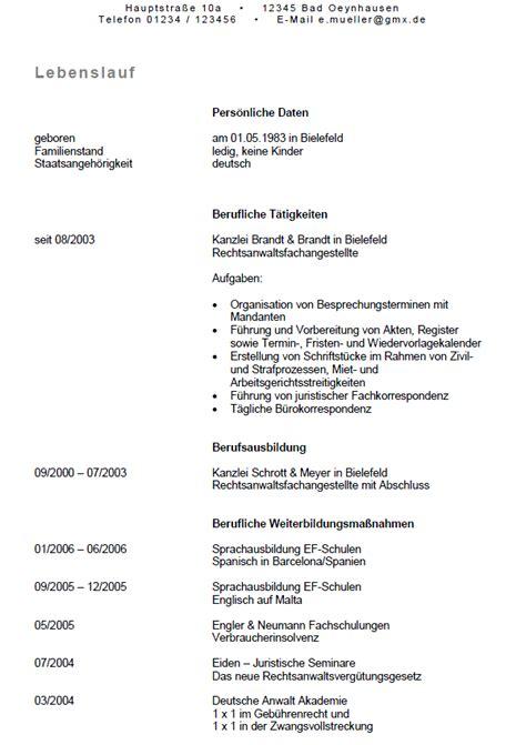 Lebenslauf Vorlage Fã R Bewerbung Rechtsanwaltsfachangestellte Ungek 252 Ndigt