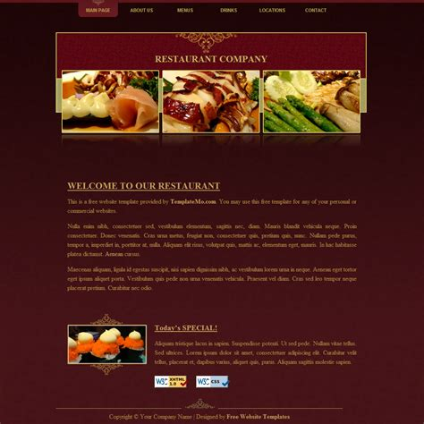 Template 054 Restaurant Catering Website Templates Free