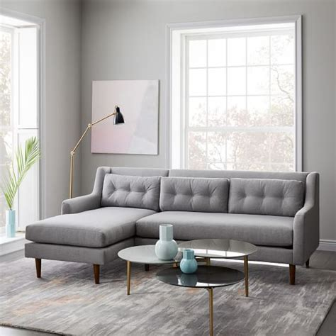west elm crosby sofa crosby mid century 2 piece chaise sectional west elm