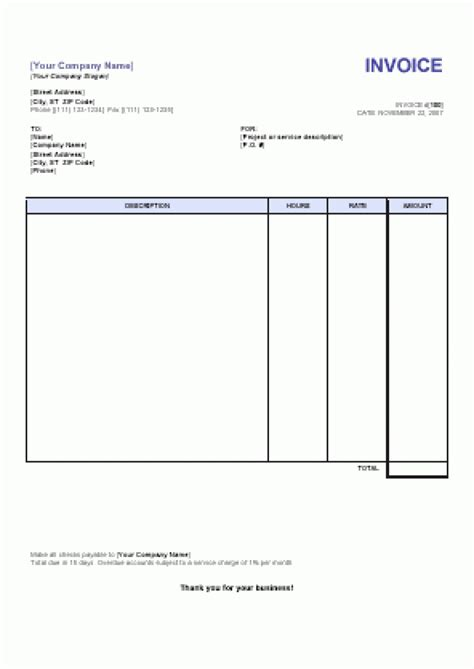 invoice template services blank service invoice templates robinhobbs info