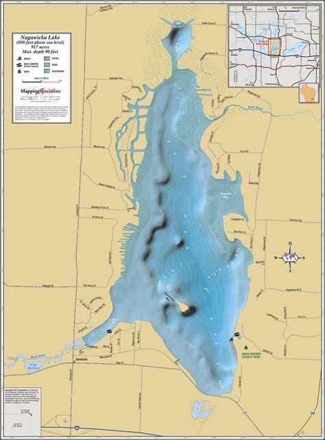 nagawicka lake wall map