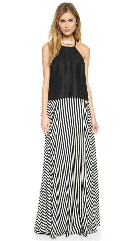Stripe Maxi Skirt Et Cetera lyst milly striped maxi skirt black white in black
