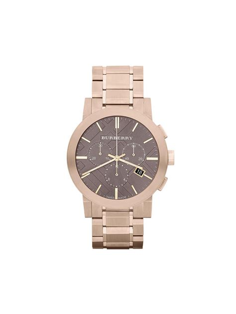 burberry chronograph gold plated steel mens bu9353