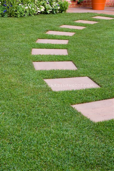 backyard stepping stones stepping stone path in perfect lawn grass plant flower