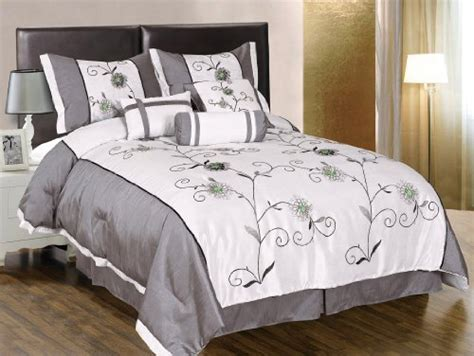 green and gray comforter 7 pieces white with grey and green embroidered lily