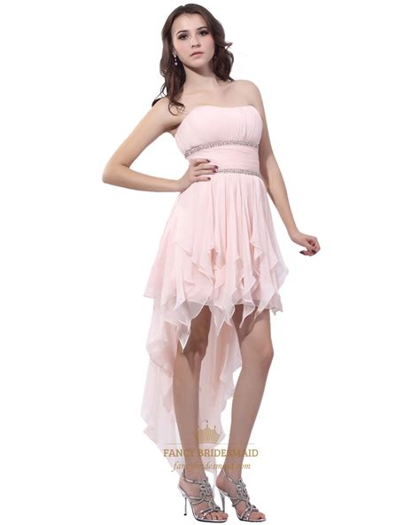 light pink strapless dress light pink strapless chiffon beaded high low prom dress