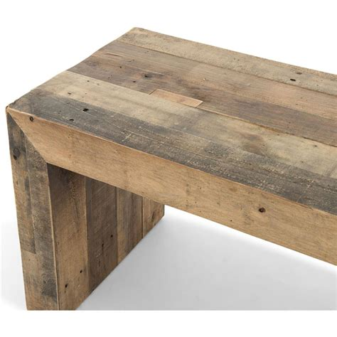 recycled wood bench wynn modern rustic lodge chunky reclaimed wood bench
