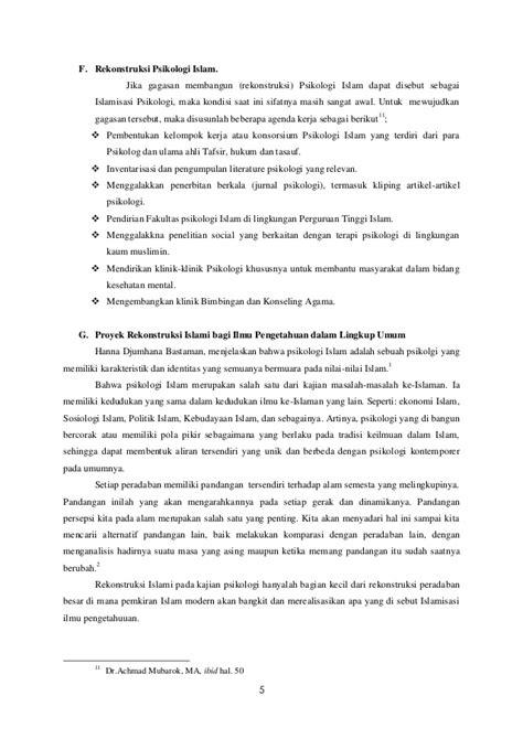Psikologi Kelompok Integritas Psikologi Dan Islam psikologi umum dan perkembangan rekonstruksi islami