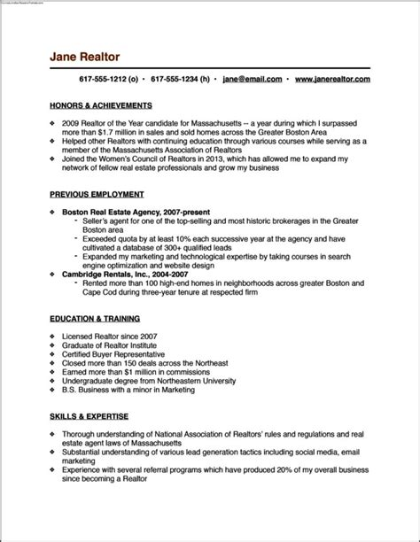 real free resume templates real estate resume templates free sles exles