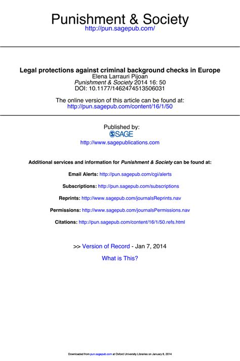 Mba Internship Criminal Background Check by Protections Against Criminal Pdf Available