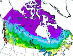 Canada Climate Map by Hardiness Zones In Canada