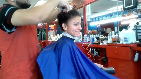 www barberher haircut long to short on beautiful lady youtube