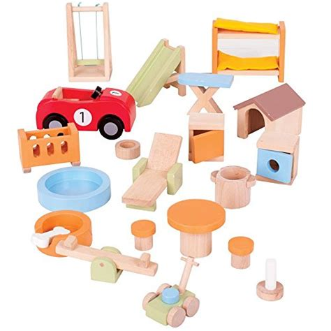 bigjigs dolls house furniture bigjigs toys heritage doll furniture house and garden playset