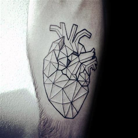 geometric heart tattoo meaning 50 geometric heart tattoo designs for men symmetrical ideas