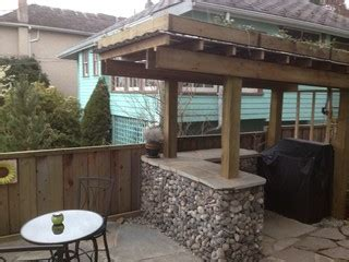 rock gabion outdoor bar  green roof rustic patio