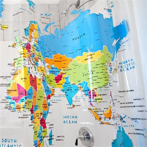 map of the world shower curtain world map curtain