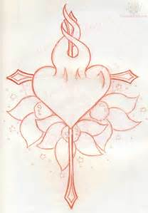 arrow cross and burning heart tattoo design