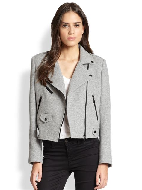 the moto jacket lyst rebecca minkoff wes wool silk moto jacket in gray