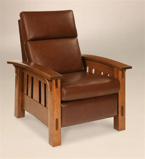 wooden recliner chairs amish mission arts and crafts recliner chair mccoy solid