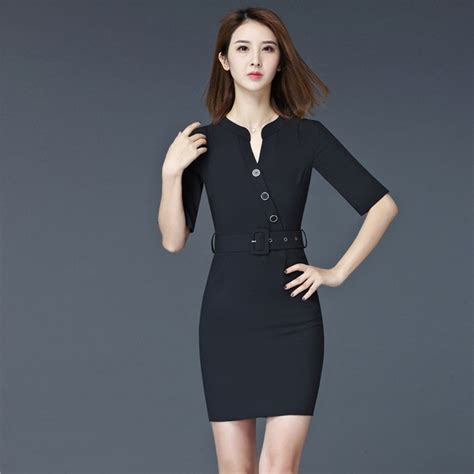 Dress Casual Lengan Pendek Fashion fashion summer dresses sleeve formal black dress work wear office