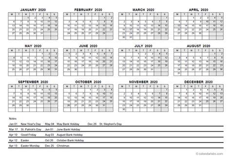 yearly calendar  ireland holidays  printable templates
