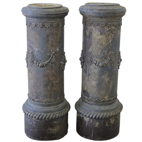 Pedestals And Columns 19th Century Zinc Garden Columns Pedestals With Floral