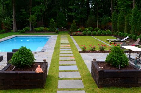 1 acre backyard design european inspired design modern landscape dc metro
