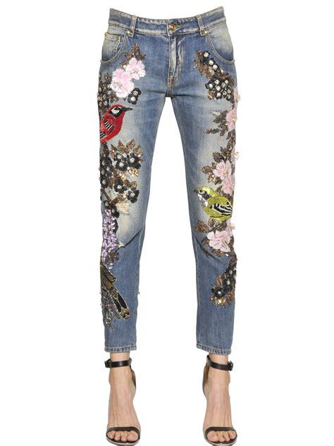 couture embellished denim trend 2015 lyst amen couture embellished cotton denim jeans in blue