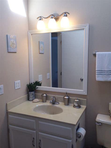 cheap bathroom upgrades diy bathroom upgrade how to frame out a mirror easy