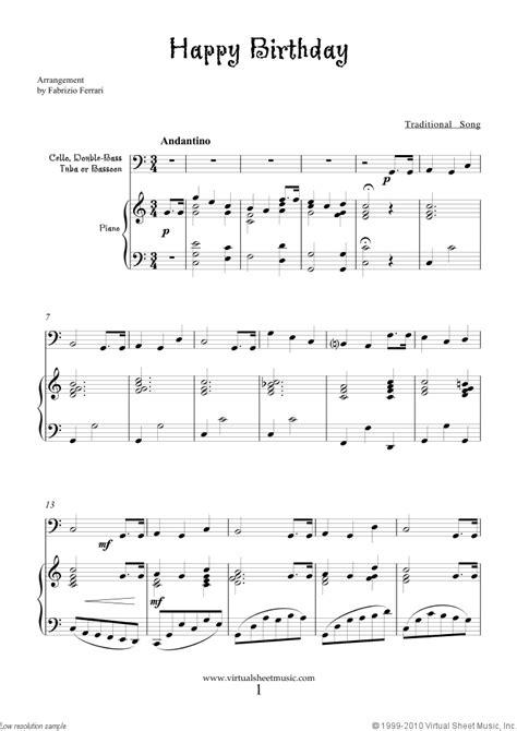 printable sheet music happy birthday free happy birthday sheet music for cello or other