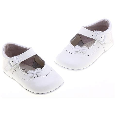 White Baby Shoes baby white patent pram shoes with flowers cachet