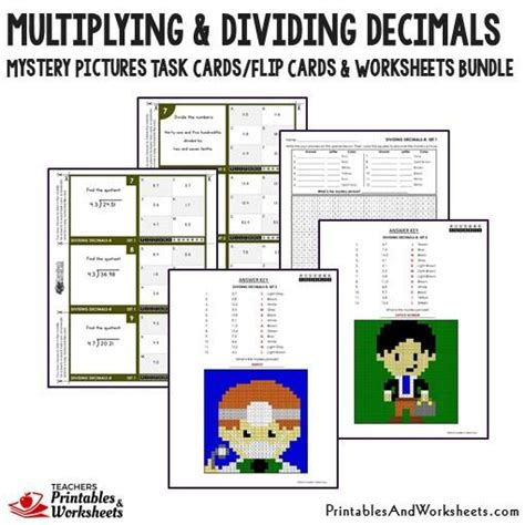 printable decimal number cards multiplying and dividing decimals task cards and