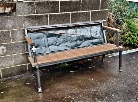 bench made from tailgate yesterday reclaimed s blue collar bench 1950 s