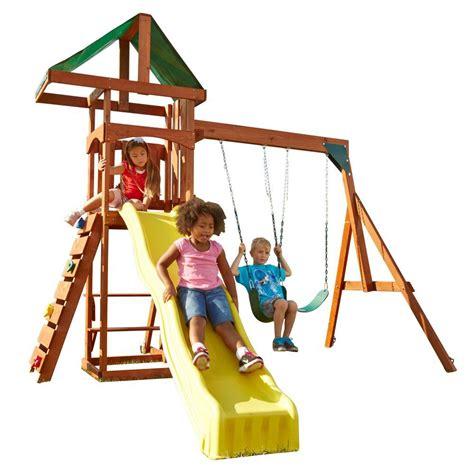 swing and slide playset swing n slide playsets scrambler wood complete playset pb