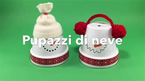 vasi terracotta decorati decorazioni di natale fai da te pupazzi di neve con vasi