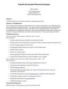 Payroll Specialist Resume Sle by Accounting And Payroll Resume Sales Accountant Lewesmr