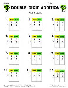 Double digit addition without regrouping the teacher treasury