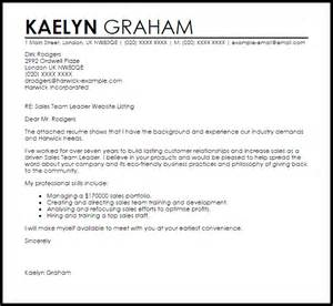 cover letter exles for team leader position sales team leader cover letter sle letter sles