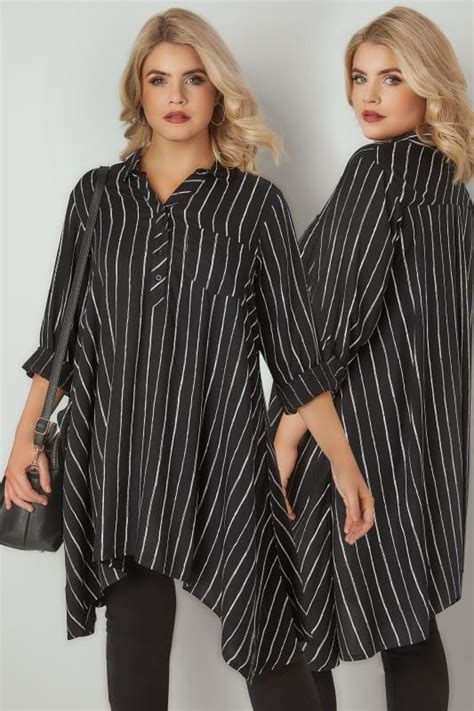 Jns316 Offwhite Superbig black white asymmetric stripe shirt plus size 16 to 36