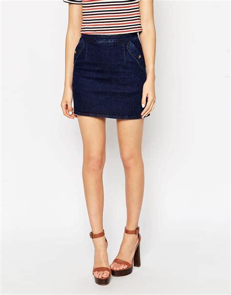 asos denim a line skirt in indigo with pockets in blue lyst