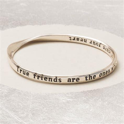 friendship bracelet heart inside a heart true love here true friends message bangle by bloom boutique