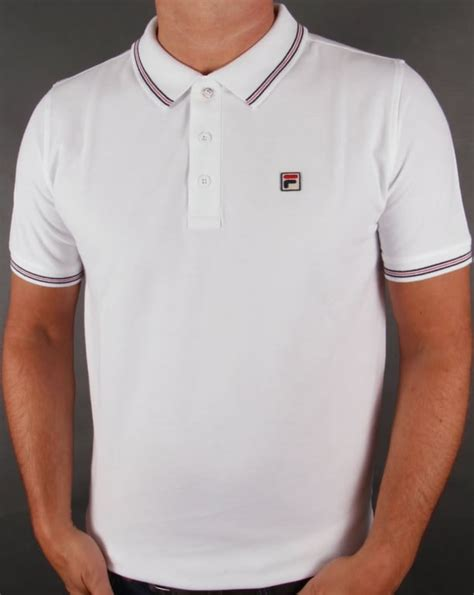 Polo Shirt Fila Keren Terlaris fila vintage matcho 3 polo shirt white classic mens