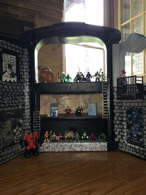 batman doll house diy gotham city repurposed puppet stage super hero action figure house doll house