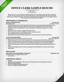 Clerical Resume Exles by Office Clerk Cover Letter Sles Resume Genius
