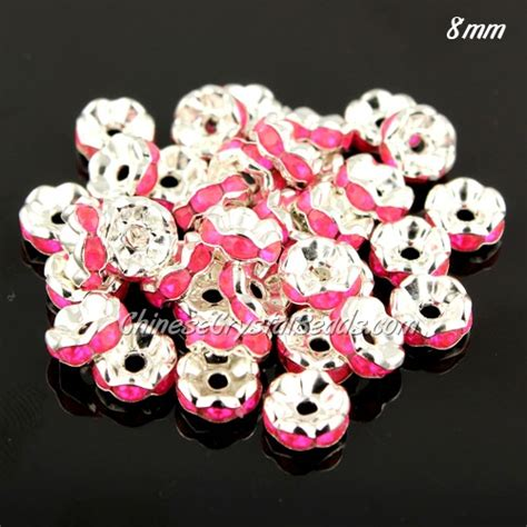 Spacer 8mm 8mm rondelle spacer 1 5mm pink acrylic rhinestone