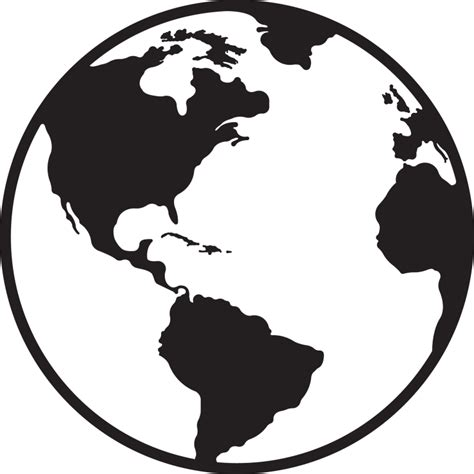Black And White Top 1 globe clipart white clipartuse